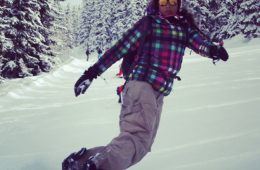 Snowboardster op haar wnoboard