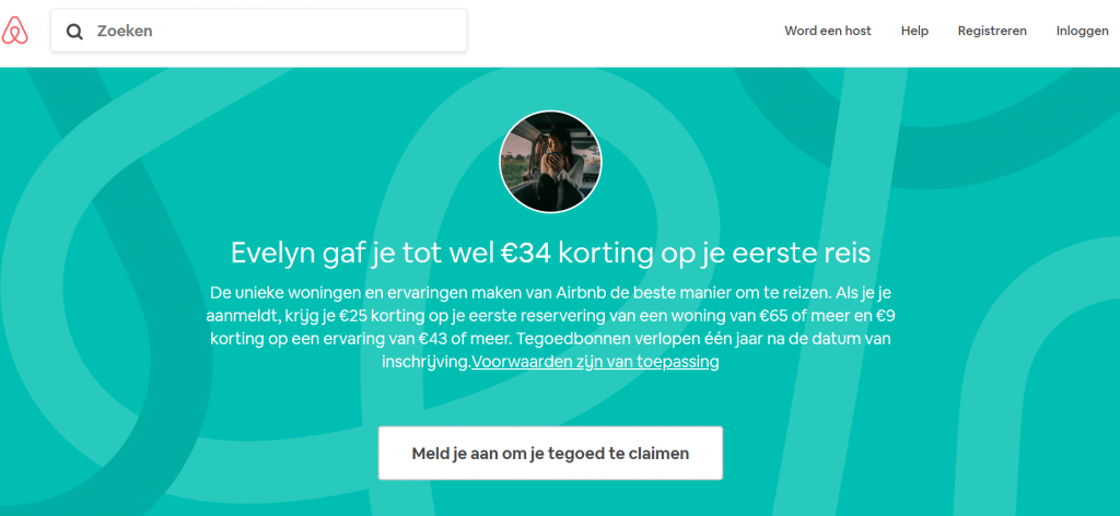 screenshot korting Airbnb