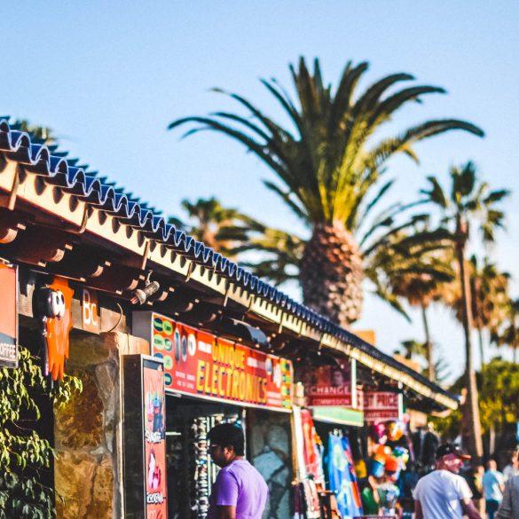 Corralejo stad en palmbomen