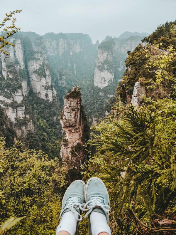 uitzicht over de rotsen van Zhangjiajie