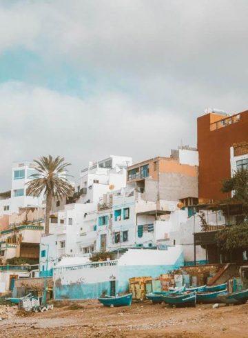 Taghazout gekleurde huizen