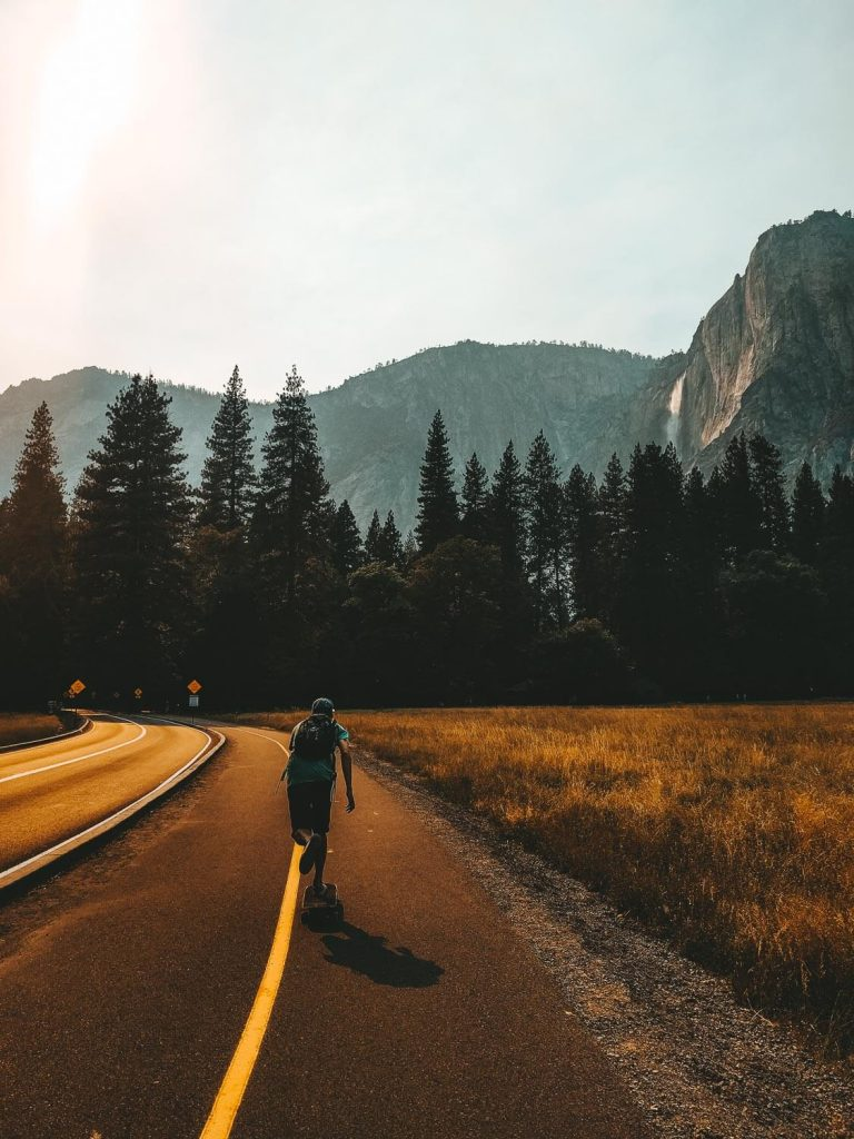longboarder in Yosemite
