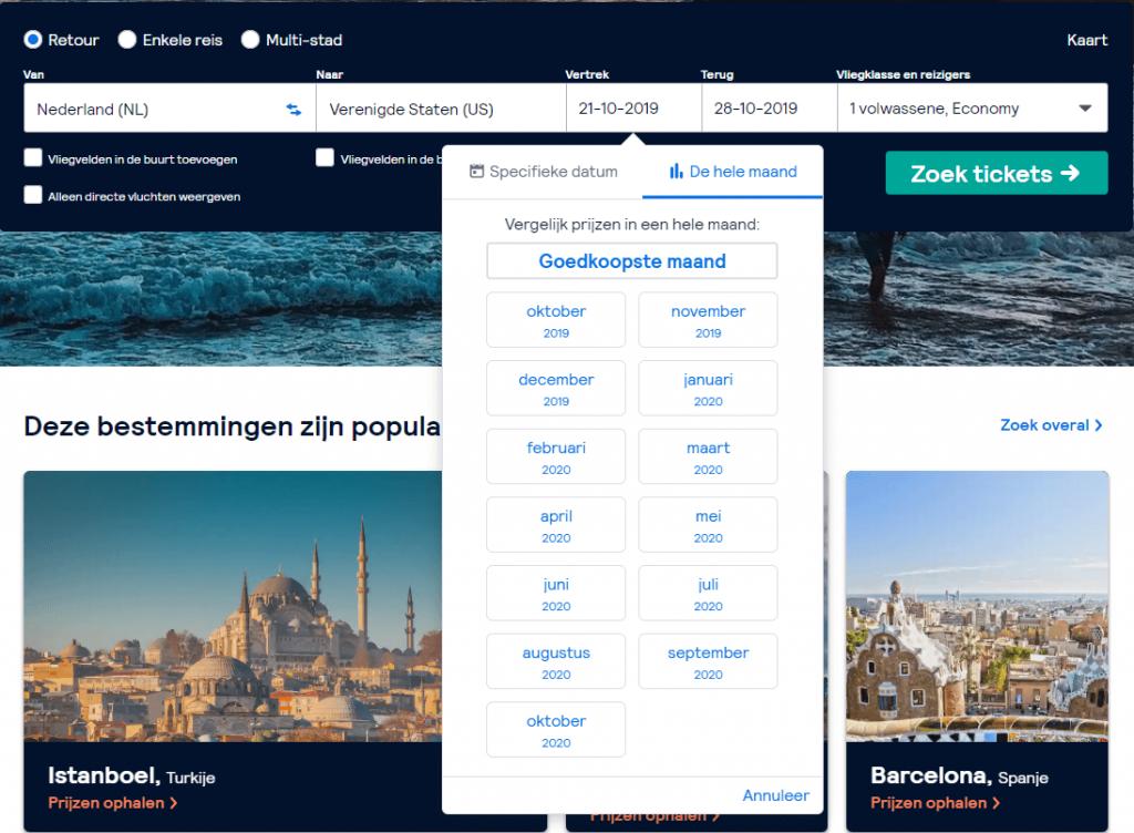 skyscanner screenshot goedkoopste maand