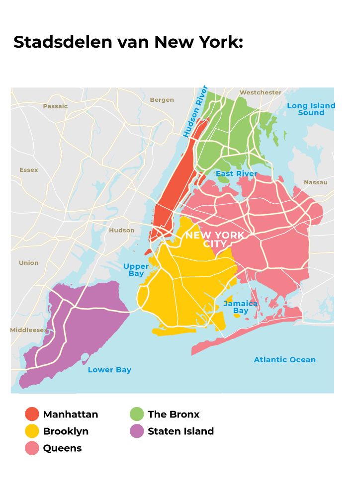 Leukste wijken new york kaart en map