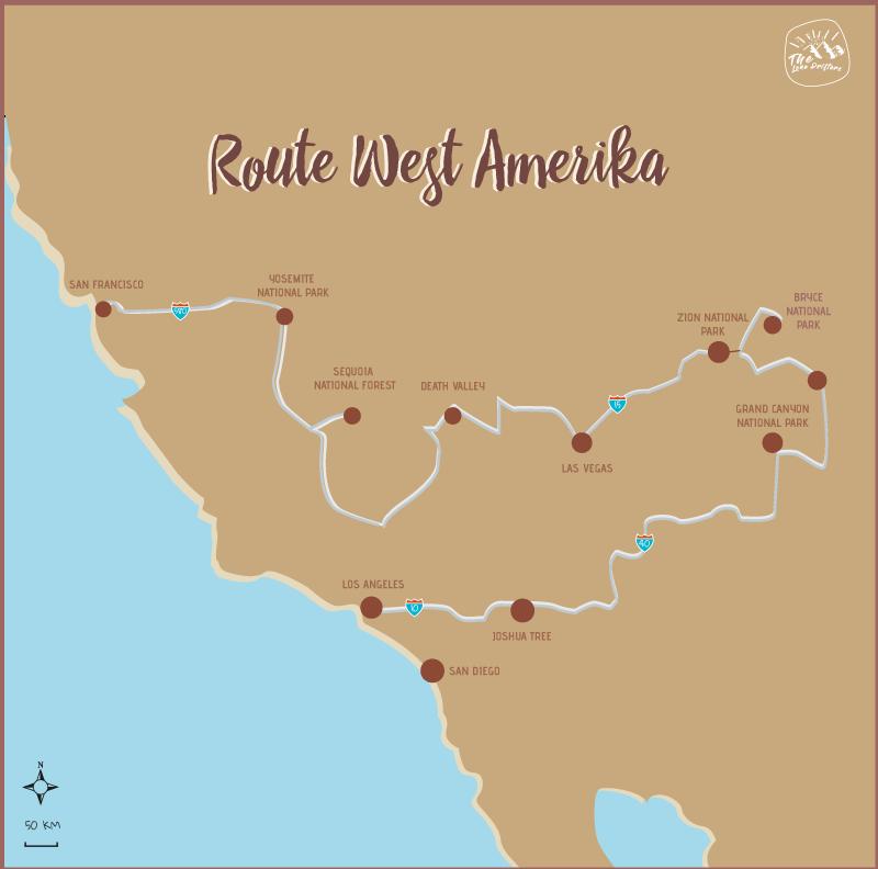 Map/kaart route Amerika