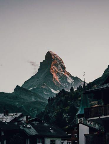Top van Matterhorn in Zermatt dorp