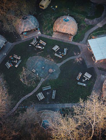 Drone foto van domicilie camping Buitenland